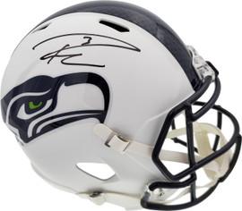 Russell Wilson Autographed Seattle Seahawks Flat Matte White Full Size Speed Replica Helmet RW Holo Stock #178958