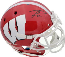 Russell Wilson Autographed Red Wisconsin Badgers Full Size Authentic Proline Helmet RW Holo Stock #178964