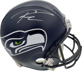 Russell Wilson Autographed Seattle Seahawks Full Size Replica Helmet In White RW Holo Stock #178967