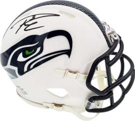 Russell Wilson Autographed Seattle Seahawks Flat Matte White Speed Mini Helmet RW Holo Stock #179110