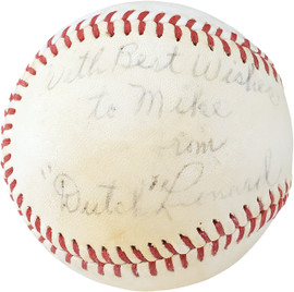 """Dutch Leonard Autographed Official Johnny Mac's Baseball Boston Red Sox, Detroit Tigers """"With Best Wishes To Mike"""" Died 1952 PSA/DNA #F15855"""