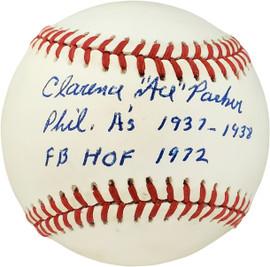 "Clarence ""Ace"" Parker Autographed Official AL Baseball Philadelphia A's ""Phil. A's 1937-1938 FB HOF 1972"" PSA/DNA #F01907"