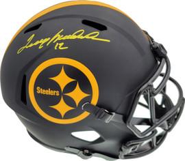Terry Bradshaw Autographed Pittsburgh Steelers Full Size Eclipse Black Speed Replica Helmet Beckett BAS Stock #179412