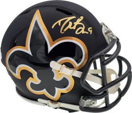 Drew Brees Autographed New Orleans Saints AMP Black Speed Mini Helmet In Gold Beckett BAS Stock #179413