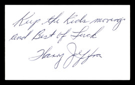 """Harry Jeffra Autographed 3x5 Index Card Bantamweight Champ """"Best Of Luck"""" SKU #179725"""