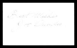 "Joe Dundee Autographed 3x5 Index Card Welterweight Champ ""Best Wishes"" SKU #179755"