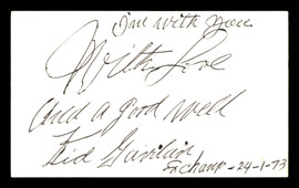 Kid Gavilan Autographed 3x5 Index Card Boxer SKU #179763