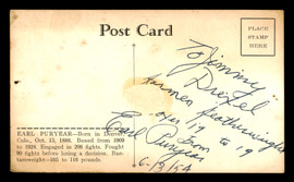 """Earl Puryear Autographed 3.5x5.5 Postcard Featherweight Boxer """"To Jimmy"""" Vintage SKU #179774"""