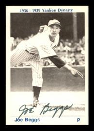 Joe Beggs Autographed 1974 TCMA 1936-39 Yankee Dynasty Card New York Yankees SKU #179811