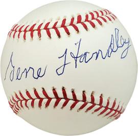 Gene Handley Autographed Official MLB Baseball Philadelphia A's Beckett BAS #V68227