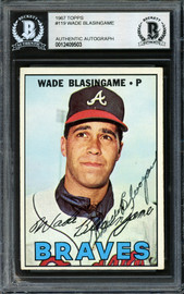 Wade Blasingame Autographed 1967 Topps Card #119 Atlanta Braves High Number Beckett BAS #12409503