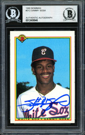 Sammy Sosa Autographed 1990 Bowman Rookie Card #312 Chicago White Sox Beckett BAS #12409946