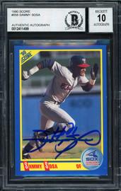 Sammy Sosa Autographed 1990 Score Rookie Card #558 Chicago White Sox Auto Grade 10 Beckett BAS #12411499
