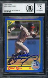 Sammy Sosa Autographed 1990 Score Rookie Card #558 Chicago White Sox Auto Grade 10 Beckett BAS #12411502