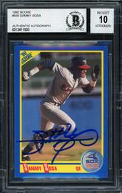 Sammy Sosa Autographed 1990 Score Rookie Card #558 Chicago White Sox Auto Grade 10 Beckett BAS #12411503