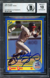 Sammy Sosa Autographed 1990 Score Rookie Card #558 Chicago White Sox Auto Grade 10 Beckett BAS #12411504