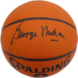 George Mikan Autographed Official Spalding NBA Basketball Minneapolis Lakers Beckett BAS #V62737