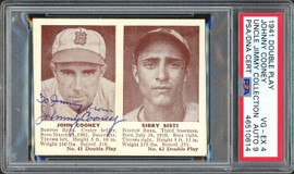 """Johnny Cooney Autographed 1941 Double Play Card Boston Bees """"To Jimmy"""" Auto Grade 9 Card Grade VG-EX 4 PSA/DNA #46510614"""