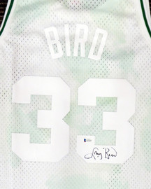 Boston Celtics Larry Bird Autographed Authentic Cloudy Skies Mitchell & Ness Jersey Beckett BAS #WA54261