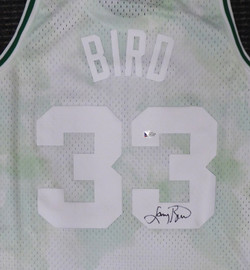 Boston Celtics Larry Bird Autographed Authentic Cloudy Skies Mitchell & Ness Jersey Beckett BAS #WA54260