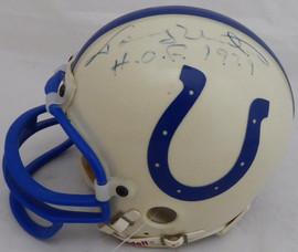 "Johnny Unitas Autographed Baltimore Colts Mini Helmet ""HOF 1979"" (Light) Beckett BAS #A34656"