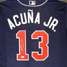 Atlanta Braves Ronald Acuna Jr. Autographed Nike Blue Jersey Size L Beckett BAS Stock #181846