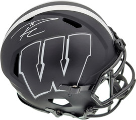 Russell Wilson Autographed Wisconsin Badgers Eclipse Black Full Size Speed Authentic Helmet RW Holo Stock #181847