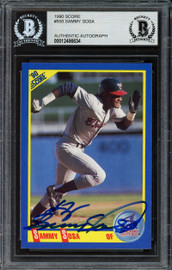 Sammy Sosa Autographed 1990 Score Rookie Card #558 Chicago Cubs Vintage Rookie Era Beckett BAS #12486634