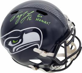 """Tyler Lockett Autographed Seattle Seahawks Full Size Speed Replica Helmet In Green """"Go Hawks"""" MCS Holo Stock #182242"""