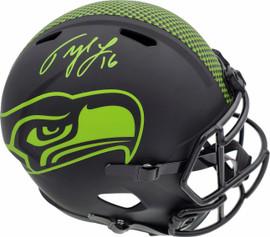Tyler Lockett Autographed Seattle Seahawks Eclipse Black Full Size Speed Replica Helmet MCS Holo Stock #182243
