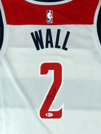 Washington Wizards John Wall Autographed White Nike Swingman Jersey Size L Beckett BAS Stock #182245