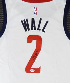 Washington Wizards John Wall Autographed White Nike Swingman Jersey DC Logo Size L Beckett BAS Stock #182246