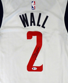 Washington Wizards John Wall Autographed White Nike Swingman Jersey DC Logo Size XL Beckett BAS Stock #182247