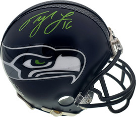 Tyler Lockett Autographed Seattle Seahawks Mini Helmet In Green MCS Holo Stock #182257