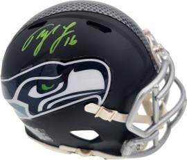 Tyler Lockett Autographed Seattle Seahawks Flat Matte Black Speed Mini Helmet In Green MCS Holo Stock #182263