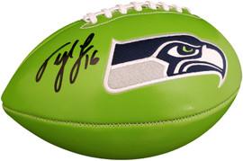 Tyler Lockett Autographed Seattle Seahawks Green Logo Football MCS Holo Stock #182268
