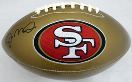Joe Montana Autographed San Francisco 49ers Gold Logo Football Beckett BAS Stock #182279