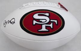 Joe Montana Autographed San Francisco 49ers White Logo Football Beckett BAS Stock #182281