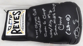 "Andre Ward Autographed Black Reyes Boxing Glove With Stats ""S.O.G. & Olympic Gold"" RH Beckett BAS Stock #182282"