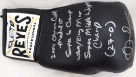 "Andre Ward Autographed Black Reyes Boxing Glove With Stats ""S.O.G. & Olympic Gold"" LH Beckett BAS Stock #182283"