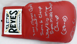 "Andre Ward Autographed Red Reyes Boxing Glove With Stats ""S.O.G. & Olympic Gold"" RH Beckett BAS Stock #182286"