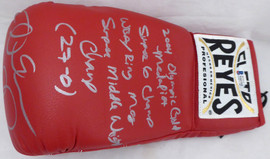 "Andre Ward Autographed Red Reyes Boxing Glove With Stats ""S.O.G. & Olympic Gold"" LH Beckett BAS Stock #182287"