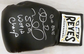 "Andre Ward Autographed Black Reyes Boxing Glove ""God Bless, S.O.G. & World Champ"" LH Beckett BAS Stock #182288"