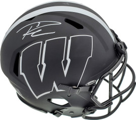 """Russell Wilson Autographed Wisconsin Badgers Eclipse Black Full Size Speed Authentic Helmet """"#3"""" RW Holo & Beckett BAS Stock #182236"""