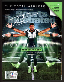Russell Wilson Autographed Sports Illustrated Magazine Seattle Seahawks Signed in White RW Holo & Beckett BAS Stock #182296