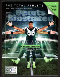 Russell Wilson Autographed Sports Illustrated Magazine Seattle Seahawks Signed in Blue RW Holo & Beckett BAS Stock #182297