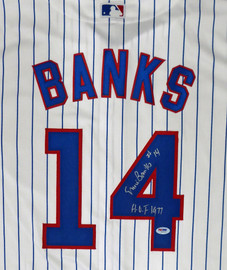 "Chicago Cubs Ernie Banks Autographed Majestic Cool Base Jersey Size XL ""HOF 1977"" Stock #182299"