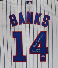 "Chicago Cubs Ernie Banks Autographed Majestic Cool Base Jersey Size L ""Cubs 1953/1971"" Stock #182305"