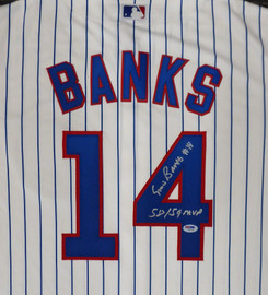 "Chicago Cubs Ernie Banks Autographed Majestic Cool Base Jersey Size L ""58/59 MVP"" Stock #182308"