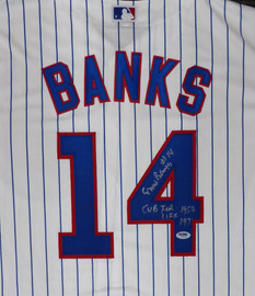 "Chicago Cubs Ernie Banks Autographed Majestic Cool Base Jersey Size XL ""Cub For Life 1953-1971"" Stock #182309"